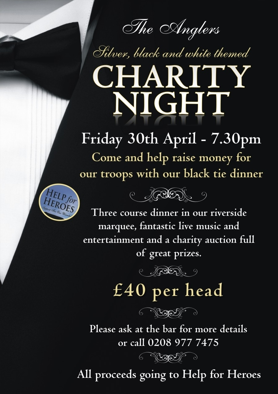 Charity black-tie event at the Anglers – Teddington, Middlesex, UK