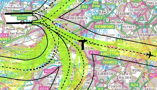 Heathrow flight-paths explained – Teddington, Middlesex, UK