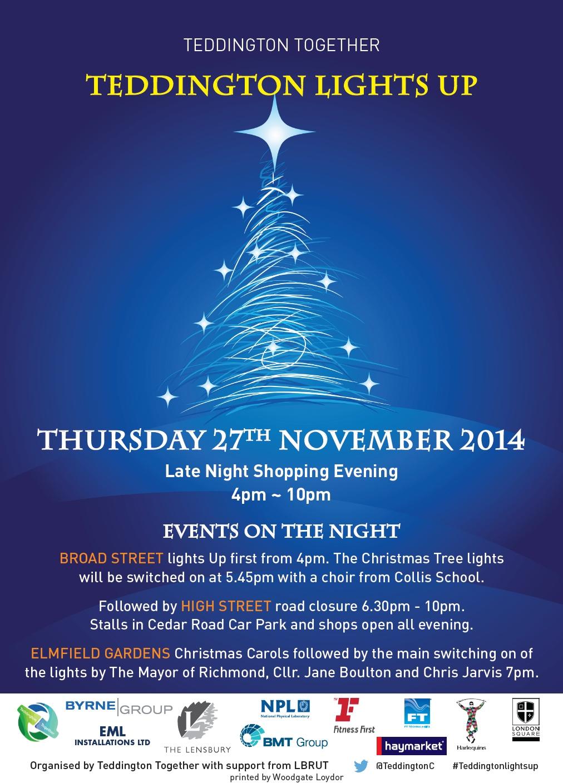 Christmas Lights Up 2014 Teddington Middlesex Uk