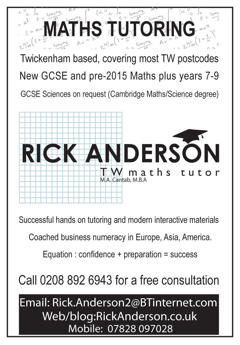 Maths Tutor Rick Anderson Teddington Middlesex Uk