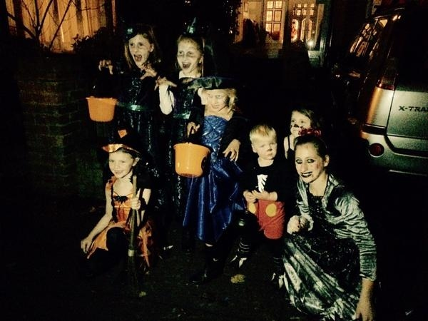 Family and friends out Trick-Or-Treating. Photo: Mark Deakin